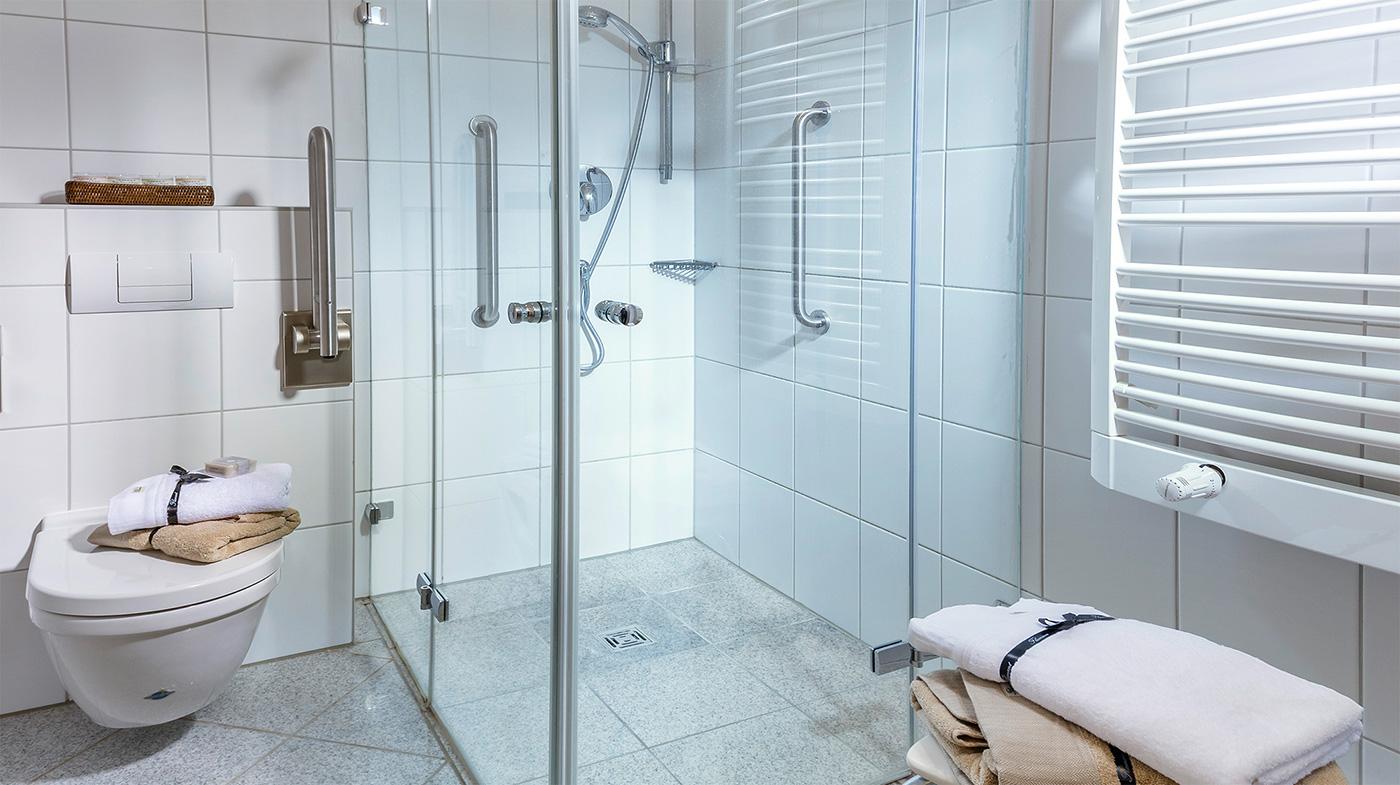 Bad mit Dusche, WC, Hocker und Haltegriffen an der Wand